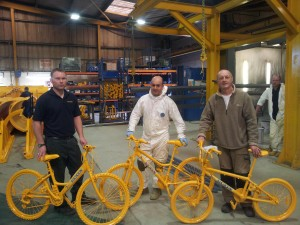 Otley's bikes at ECON's paint shop
